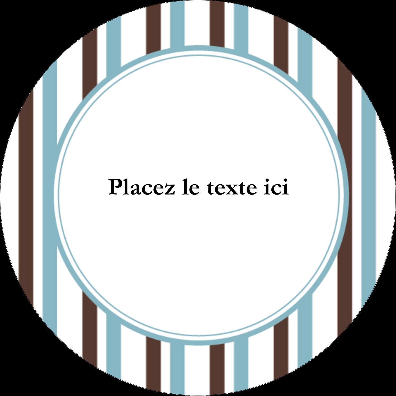 """2½"""" Diameter Étiquettes rondes - Rayures bleues"""
