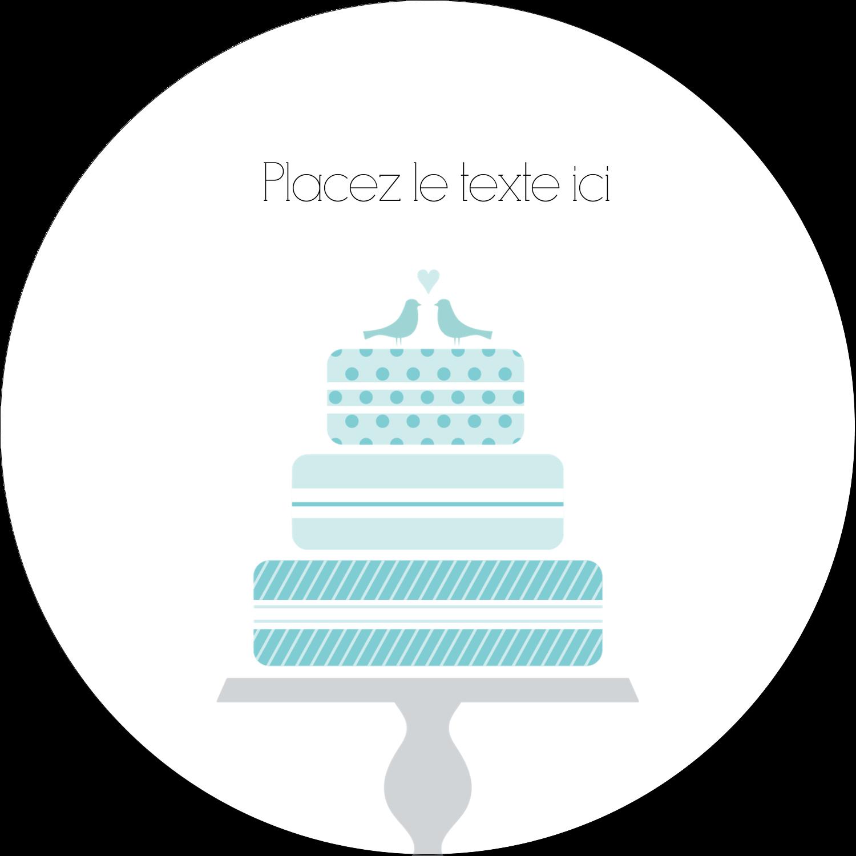 """2½"""" Diameter Étiquettes rondes - Figurines d'oiseau bleu pour gâteau de noces"""