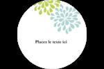 Fleurs bleues et vertes Étiquettes rondes - gabarit prédéfini. <br/>Utilisez notre logiciel Avery Design & Print Online pour personnaliser facilement la conception.