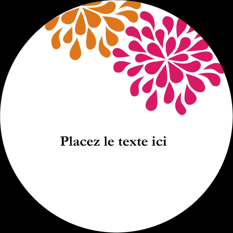 """2½"""" Diameter Étiquettes rondes - Fête prénuptiale en rose et orange"""