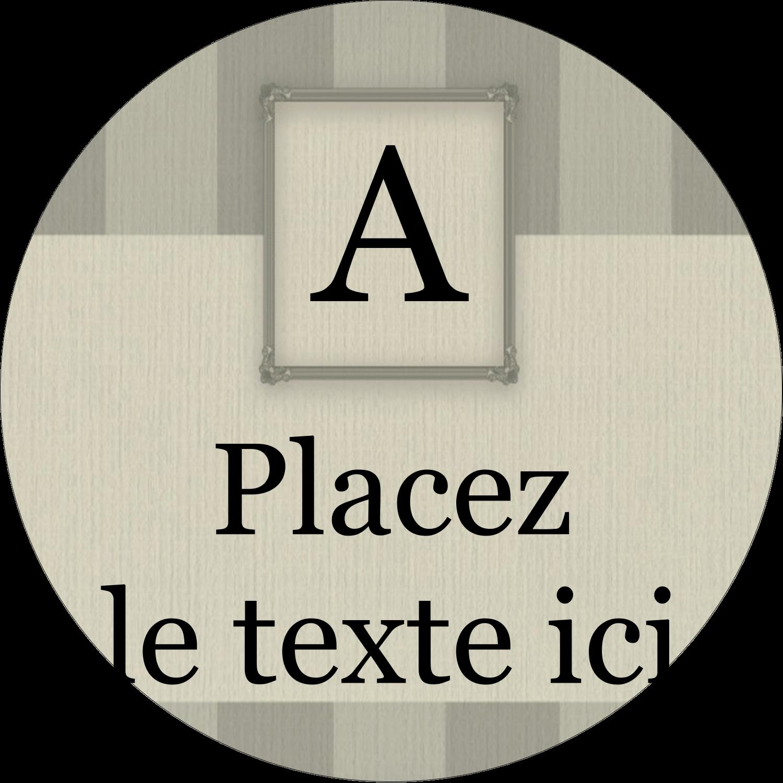 """2½"""" Diameter Étiquettes rondes - Initiale ex-libris"""
