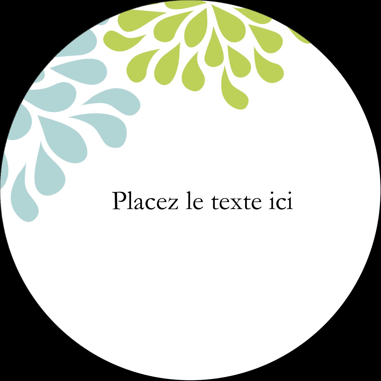 """3"""" x 2¼"""" Étiquettes arrondies - Fleurs bleues et vertes"""