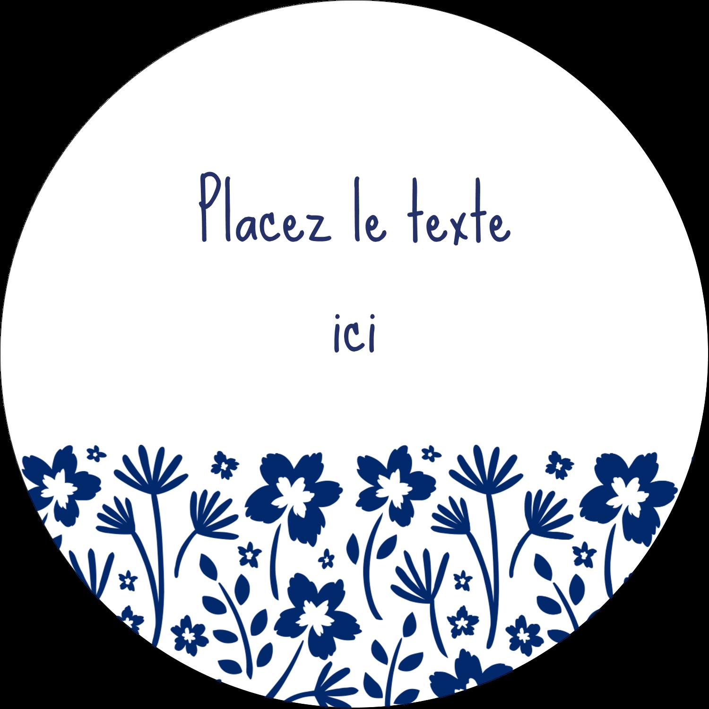 """3"""" x 2¼"""" Étiquettes arrondies - Petit bouquet bleu"""