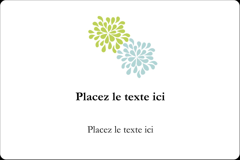 """3"""" x 3¾"""" Étiquettes rectangulaires - Fleurs bleues et vertes"""