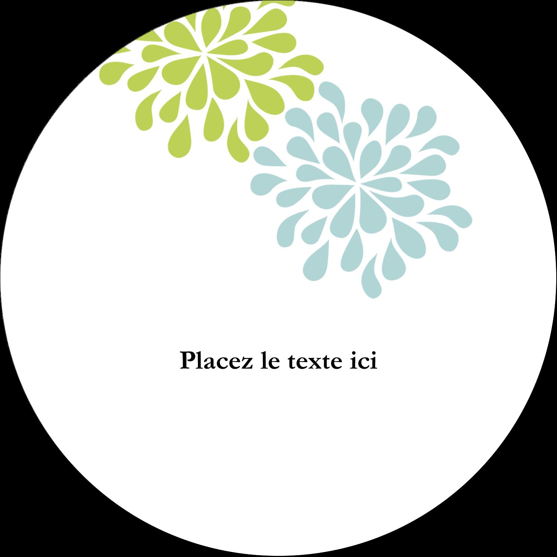 """4¾"""" x 3½"""" Étiquettes arrondies - Fleurs bleues et vertes"""