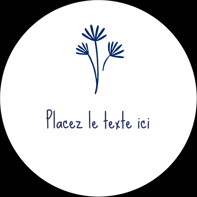 """4¾"""" x 3½"""" Étiquettes arrondies - Petit bouquet bleu"""
