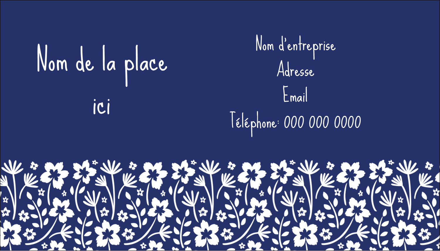 "3½"" x 2"" Carte d'affaire - Petit bouquet bleu"