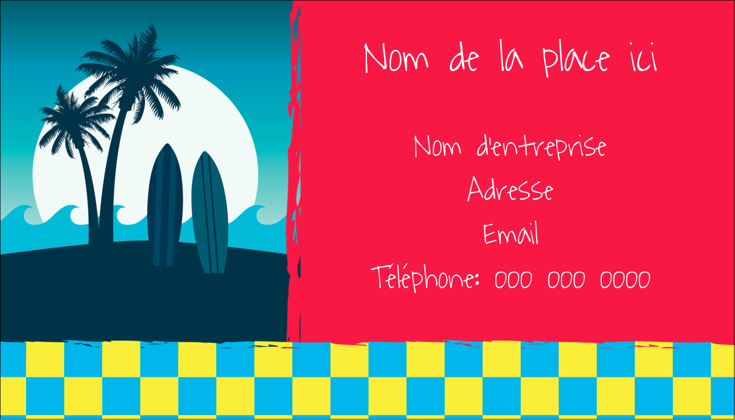 "3½"" x 2"" Carte d'affaire - Surf tropical"