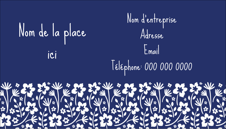 """3½"""" x 2"""" Carte d'affaire - Petit bouquet bleu"""