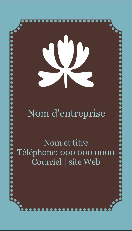 """2"""" x 3½"""" Carte d'affaire - Bordure en brun et bleu"""
