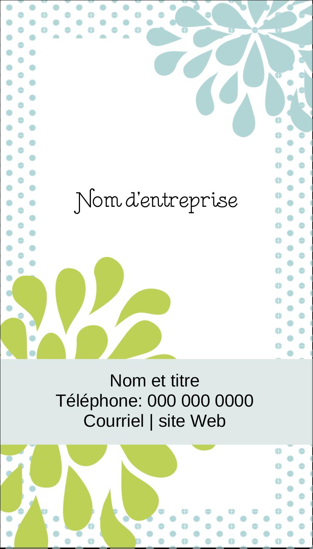 """2"""" x 3½"""" Carte d'affaire - Fleurs bleues et vertes"""