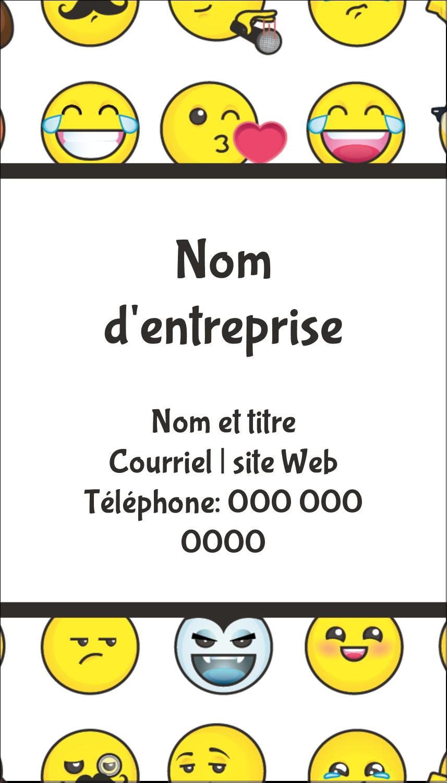 """2"""" x 3½"""" Carte d'affaire - Visages d'émojis"""