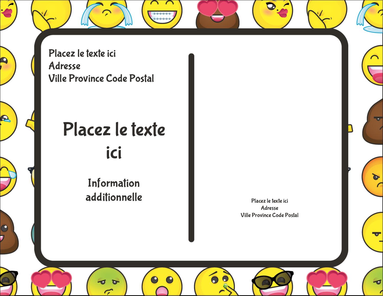 """4¼"""" X 5½"""" Carte Postale - Visages d'émojis"""