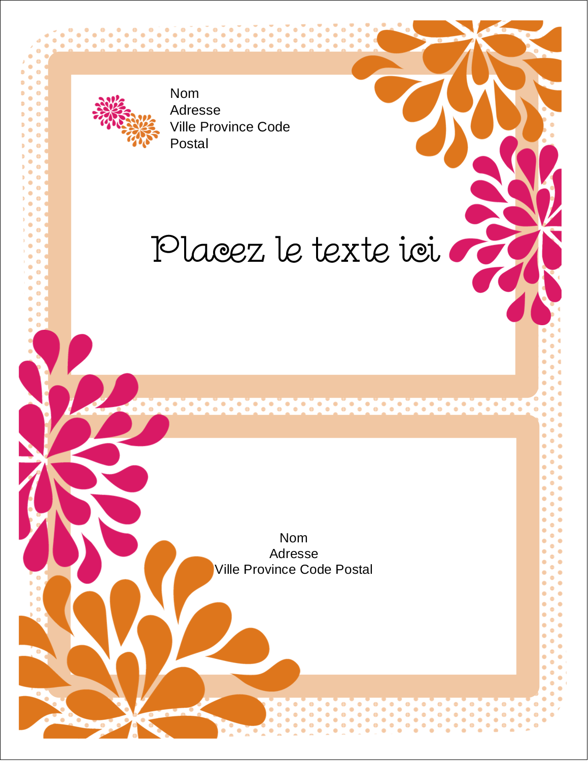 "5½"" x 4¼"" Carte Postale - Fête prénuptiale en rose et orange"