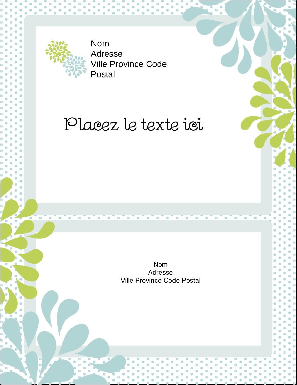 """5½"""" x 4¼"""" Carte Postale - Fleurs bleues et vertes"""