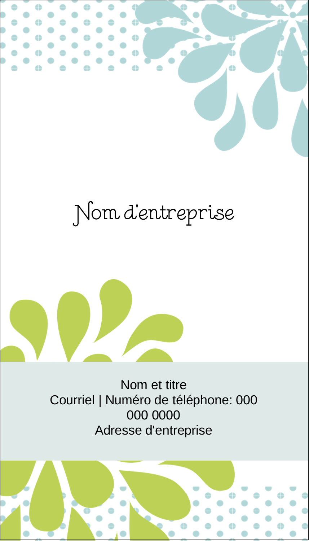 """3½"""" x 2"""" Carte d'affaire - Fleurs bleues et vertes"""