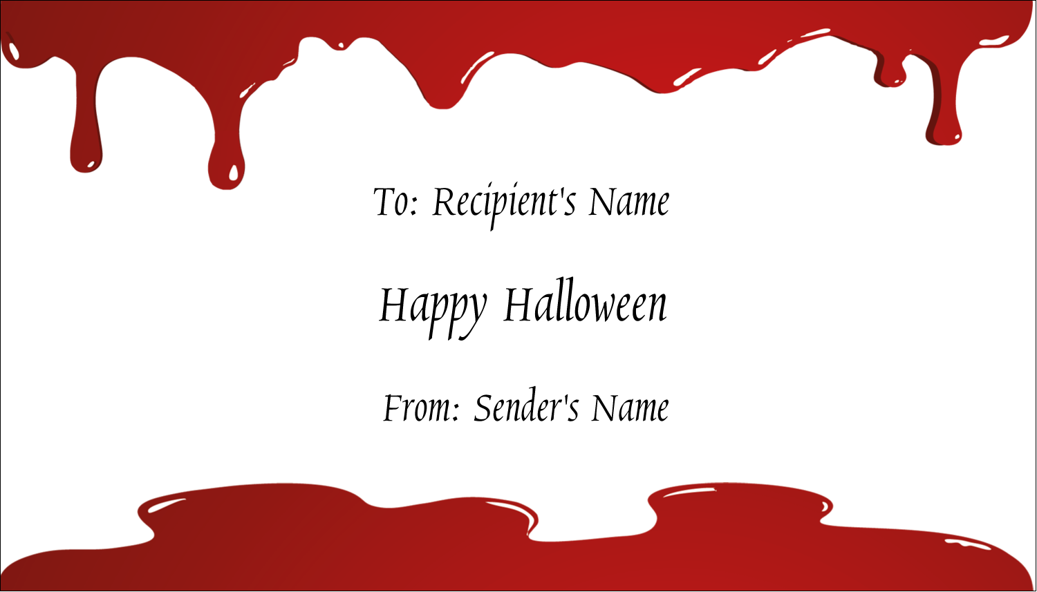 "2"" x 3½"" Business Card - Bloody Halloween"