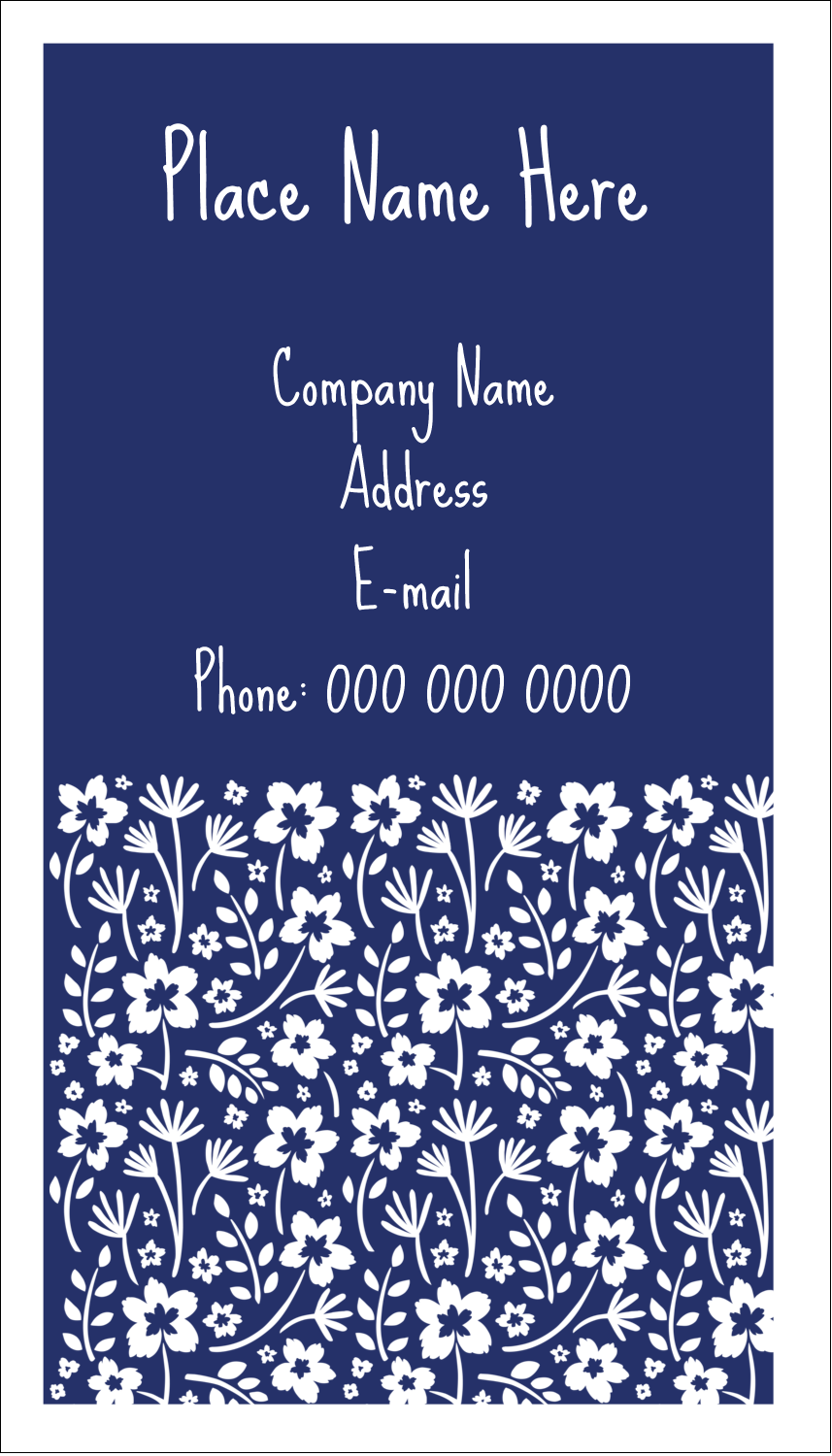 "3½"" x 2"" Business Card - Small Floral Blue"