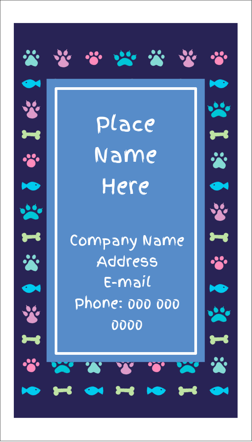 "3½"" x 2"" Business Card - Furry Friends"