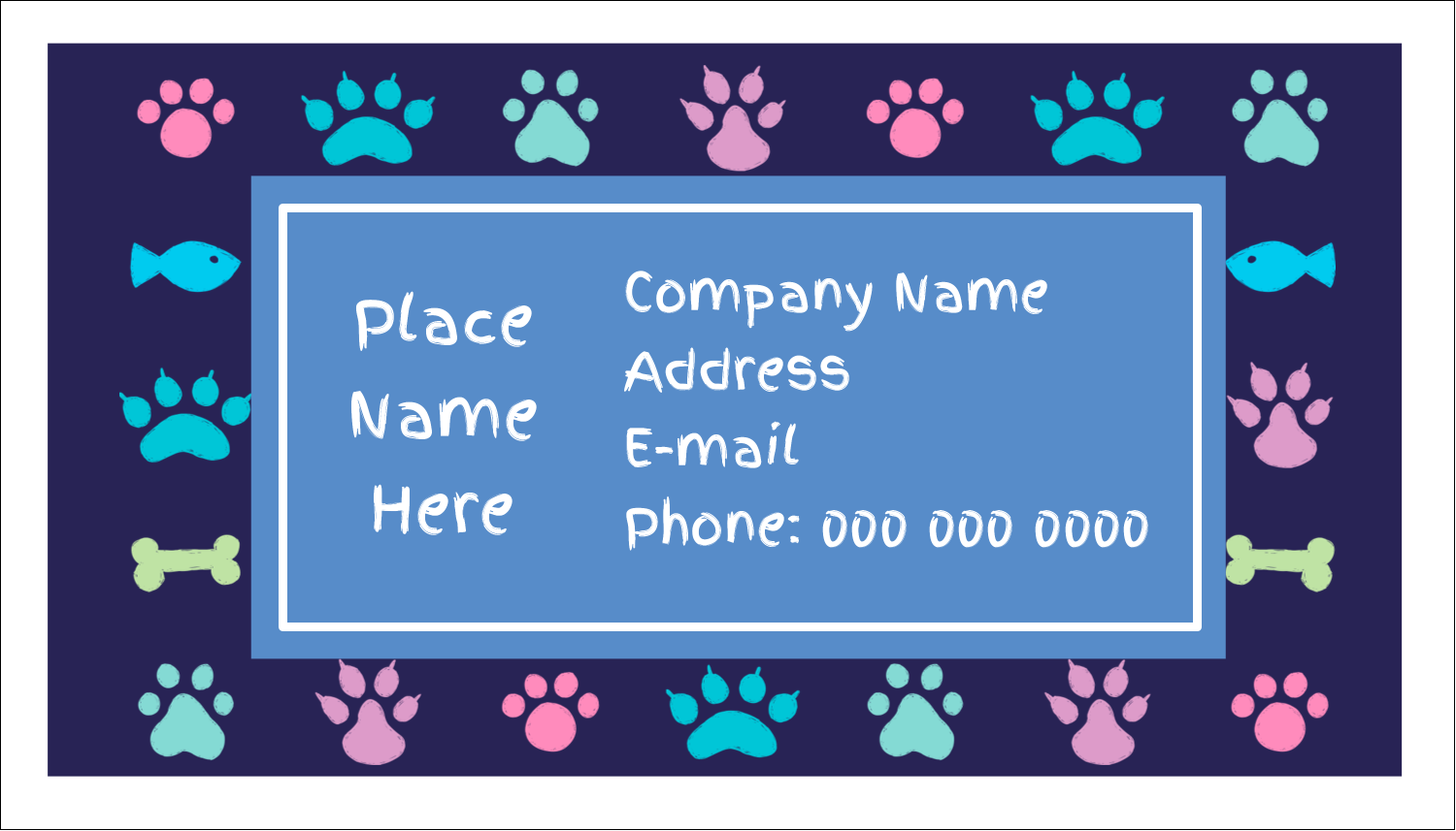 "2"" x 3½"" Business Card - Furry Friends"