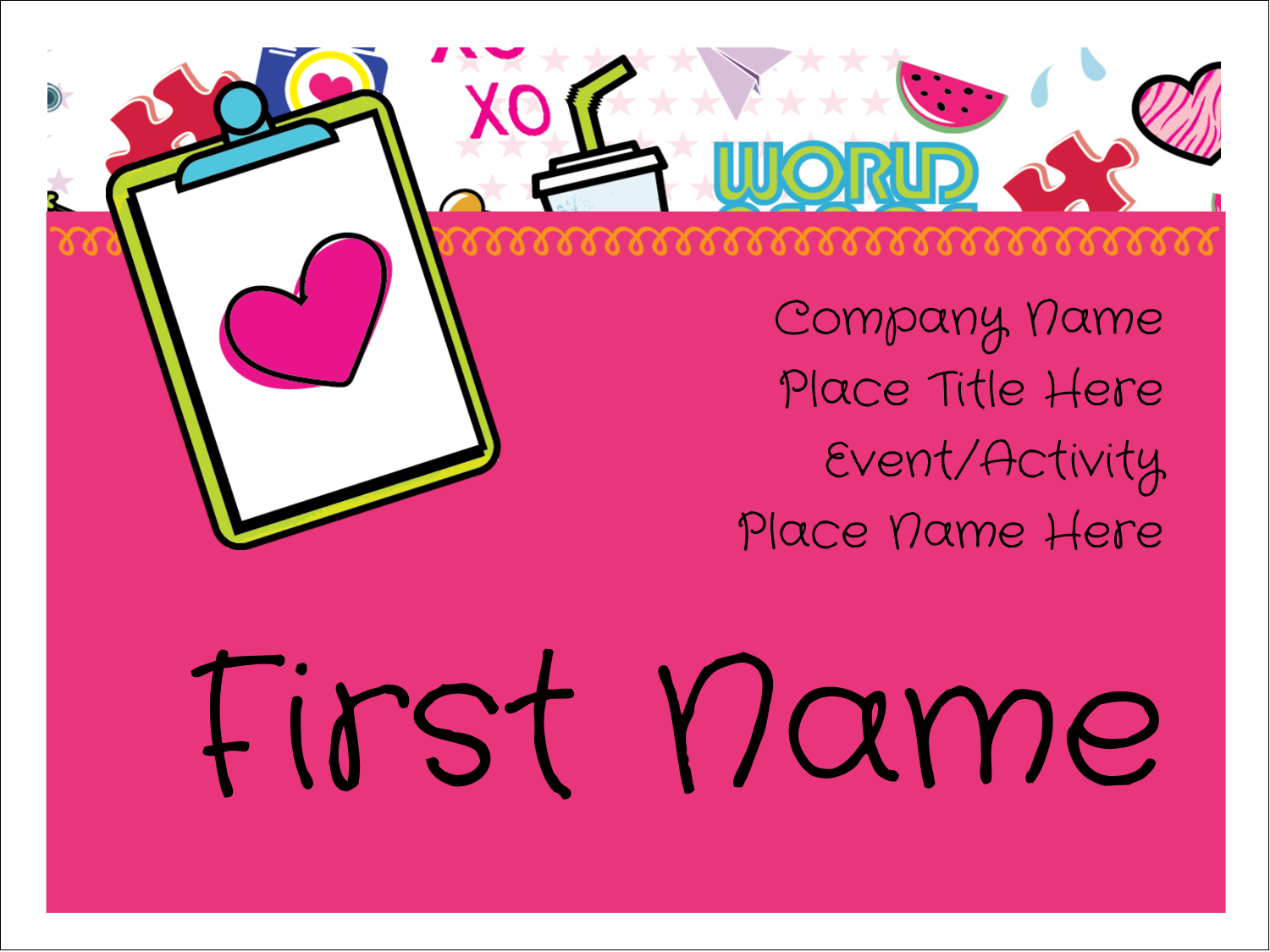 "3"" x 4"" Name Tags - Binder Doodles"