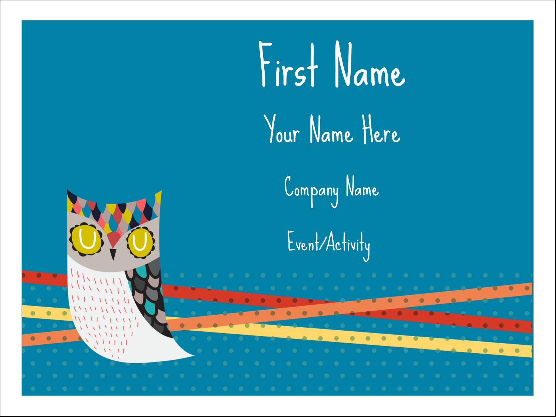 "3"" x 4"" Name Tags - Artful Owl"