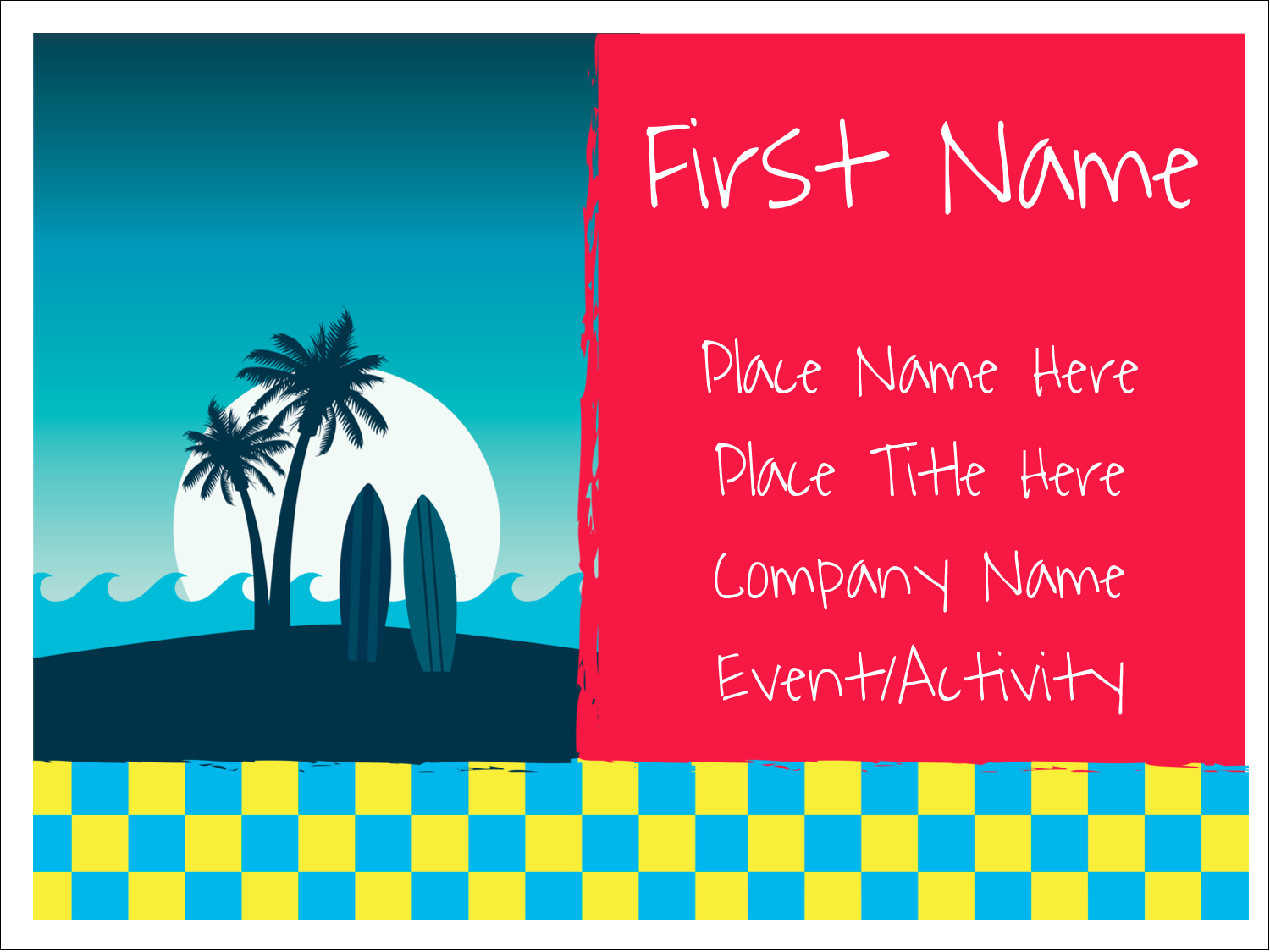 "3"" x 4"" Name Tags - Tropical Surf"
