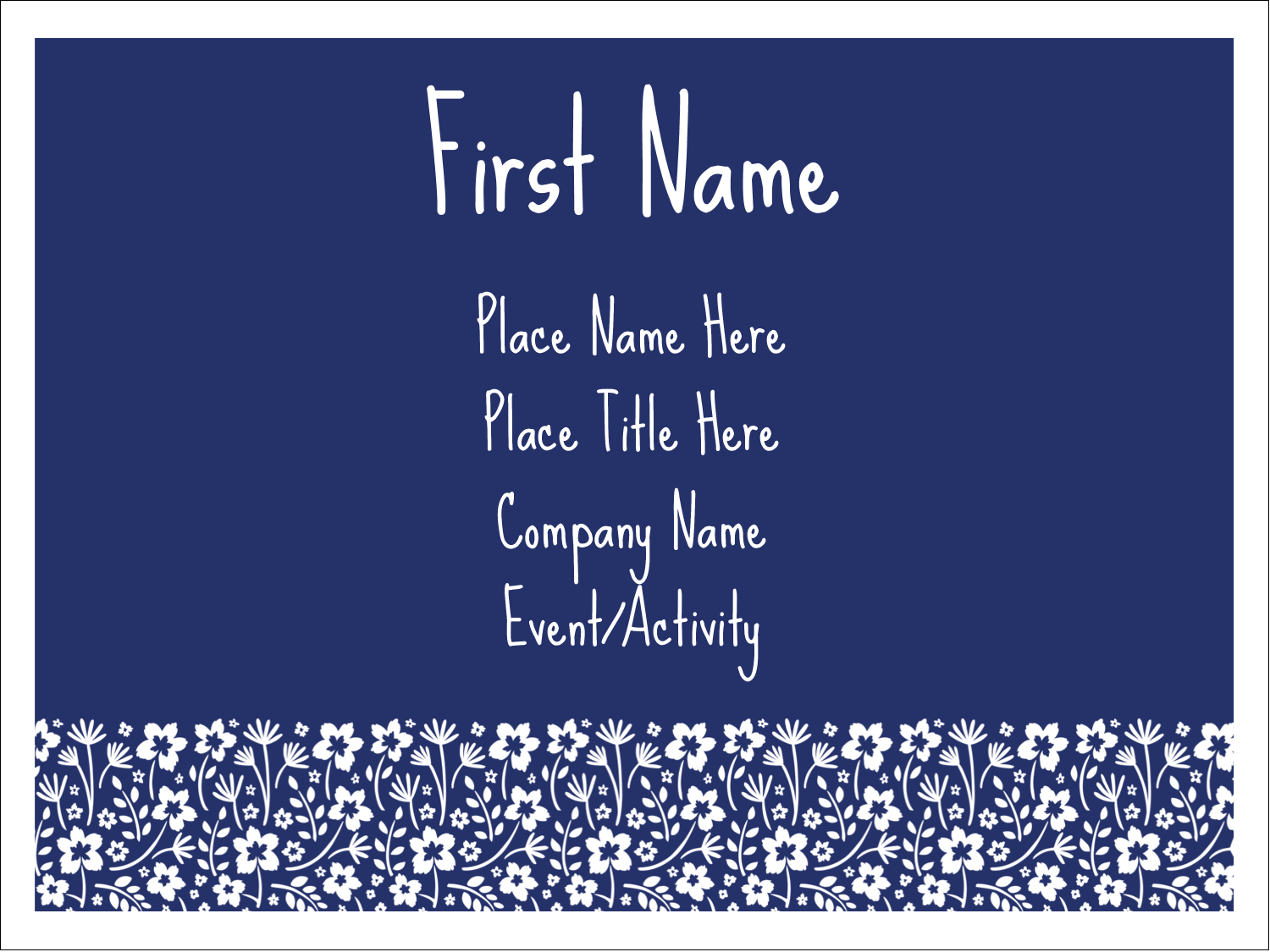"3"" x 4"" Name Tags - Small Floral Blue"