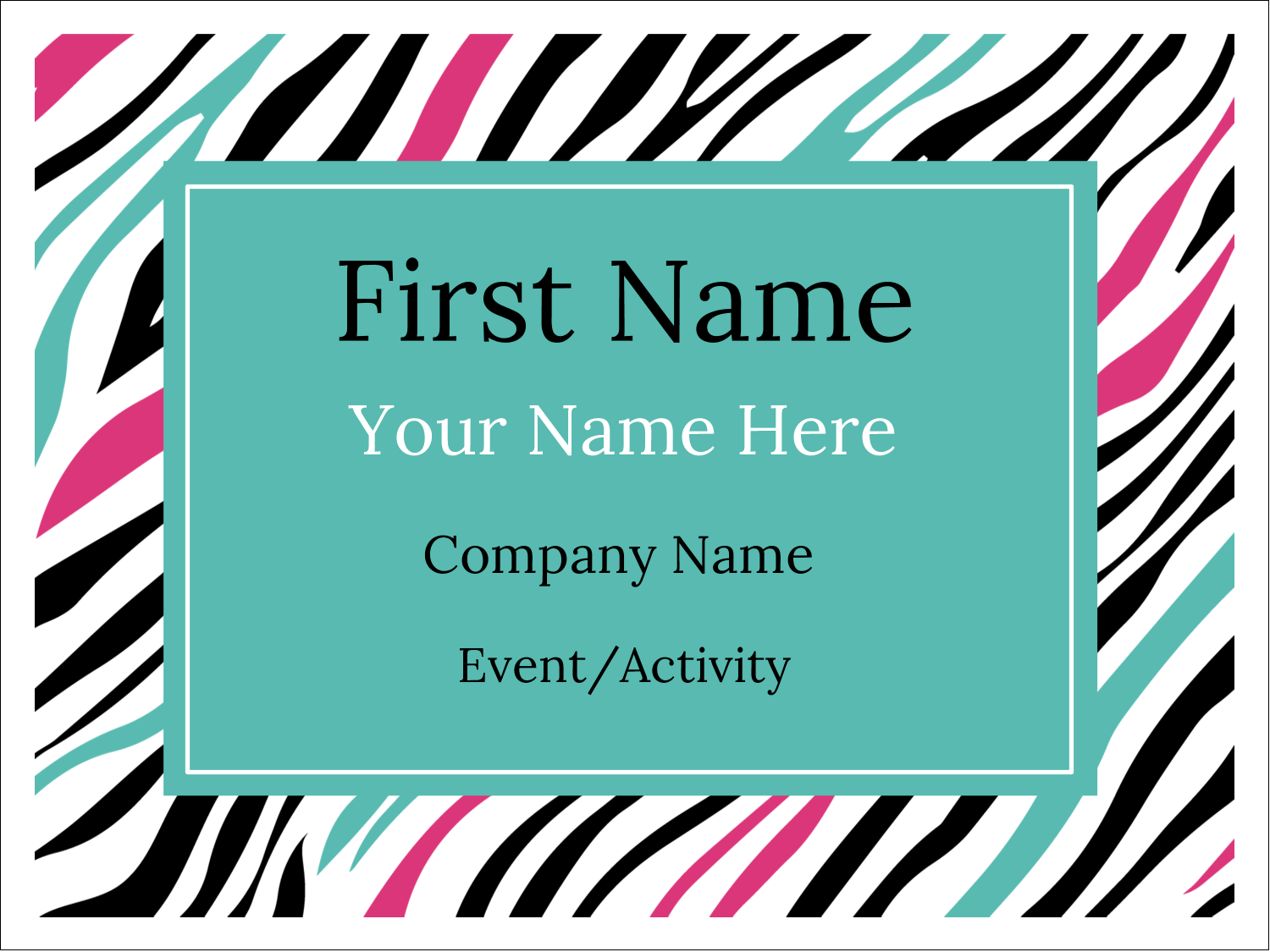 "3"" x 4"" Name Tags - Animal Prints"