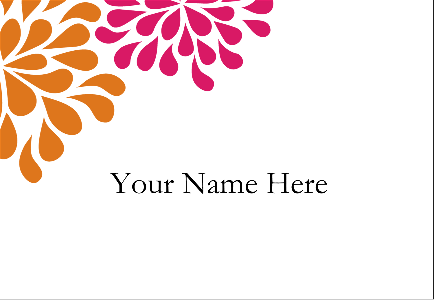 "3⅜"" x 2⅓"" Name Badge - Bridal Shower Pink Orange"