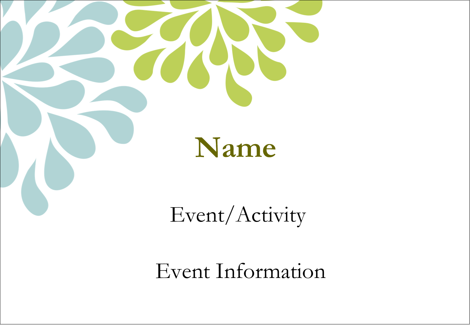 """3⅜"""" x 2⅓"""" Name Badge - Blue Green Blooms"""
