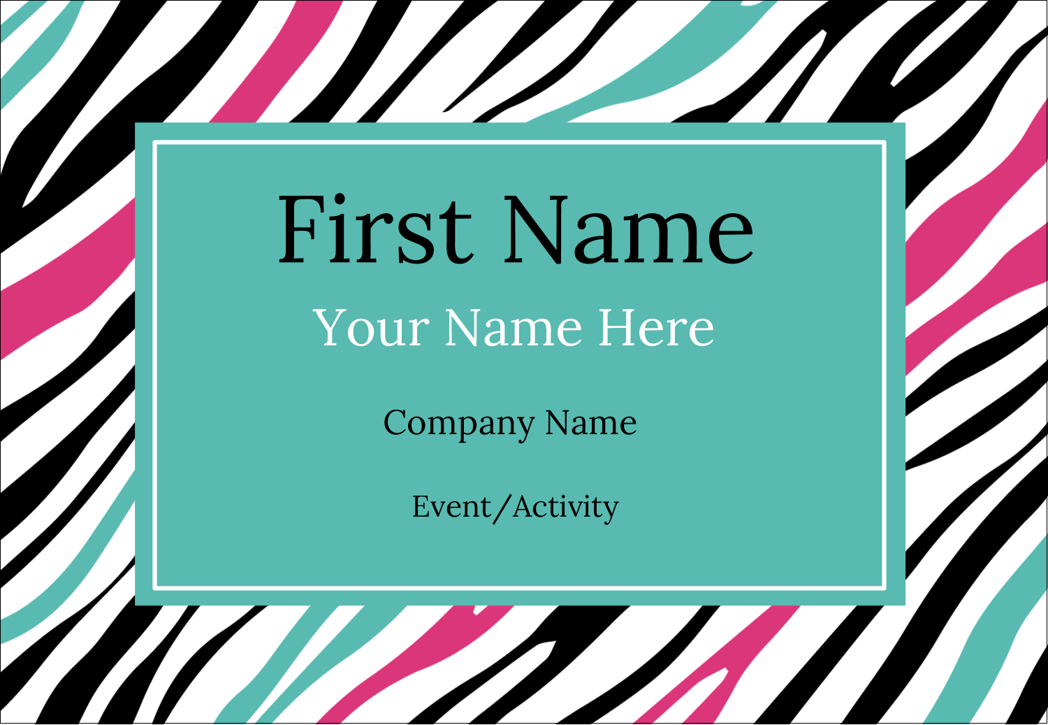 "3⅜"" x 2⅓"" Name Badge - Animal Prints"