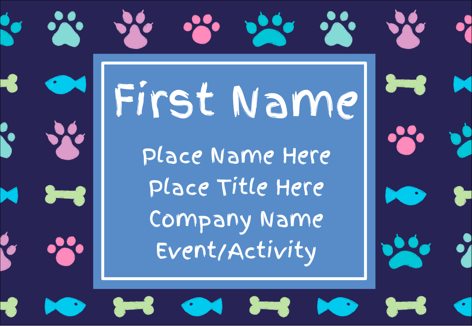 "3⅜"" x 2⅓"" Name Badge - Furry Friends"