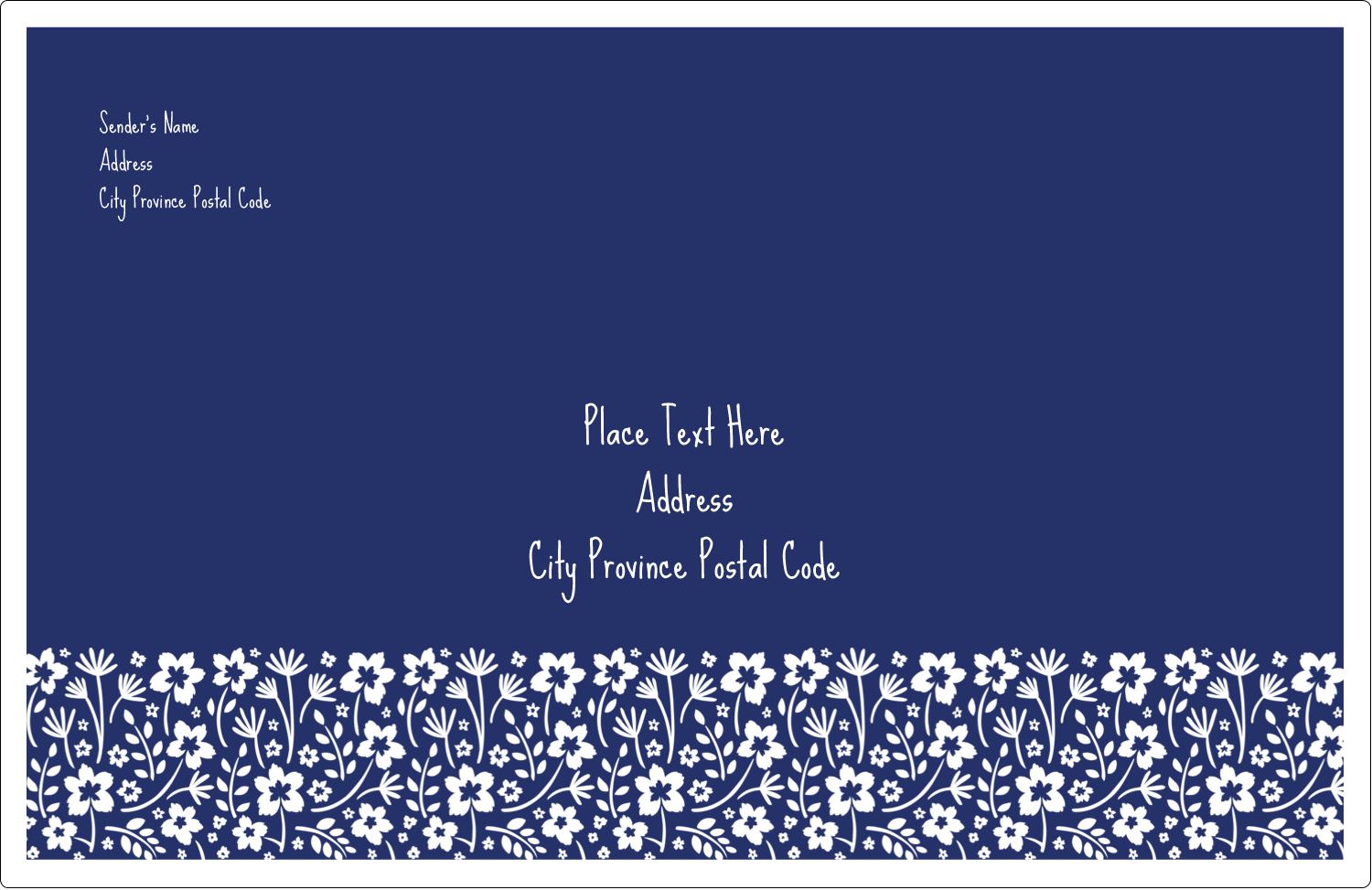 "5½"" x 8½"" Shipping Label - Small Floral Blue"