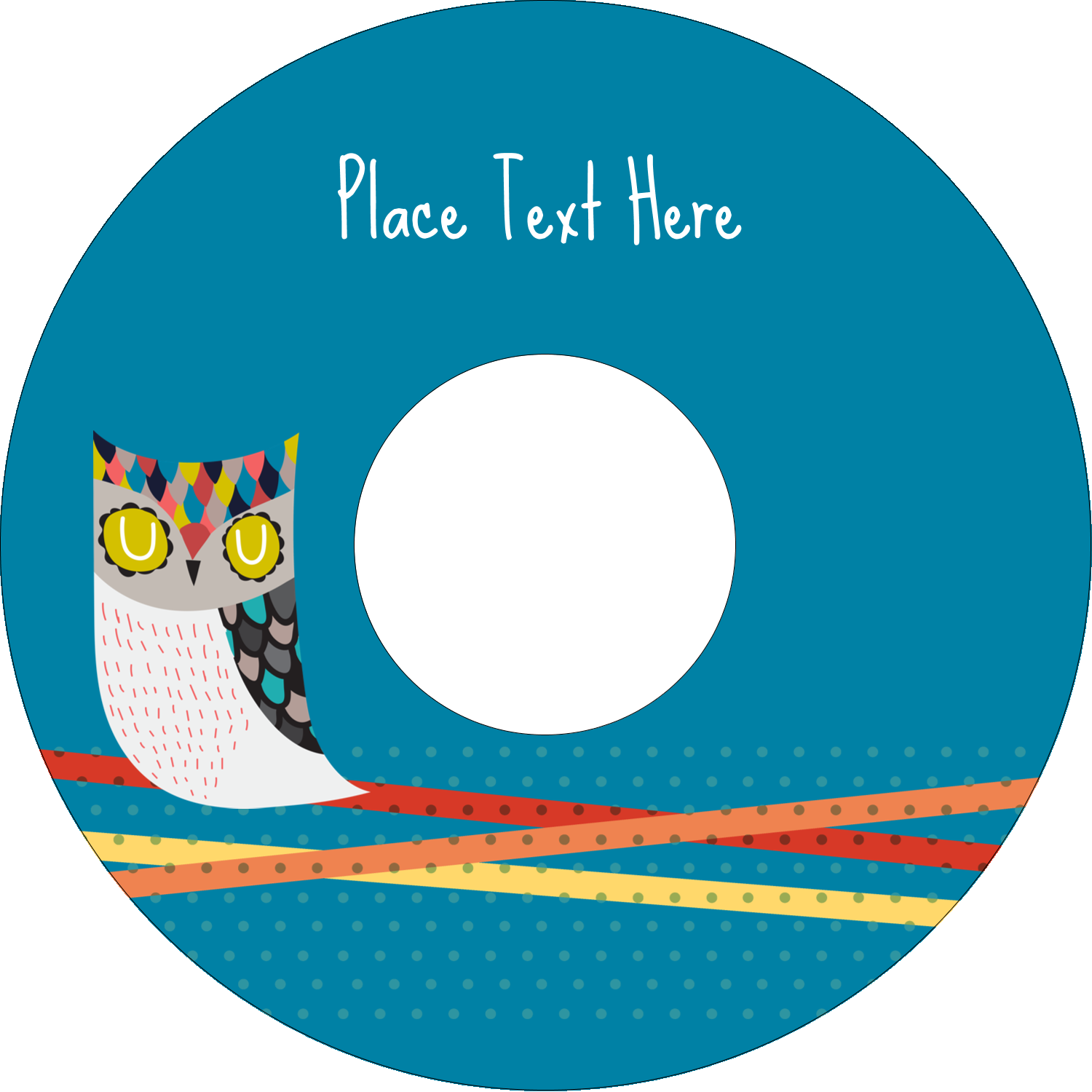 "4.65"" CD-DVD Label - Artful Owl"