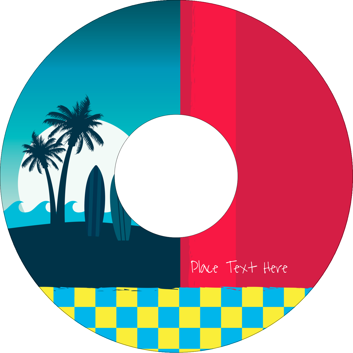 "4.65"" CD-DVD Label - Tropical Surf"