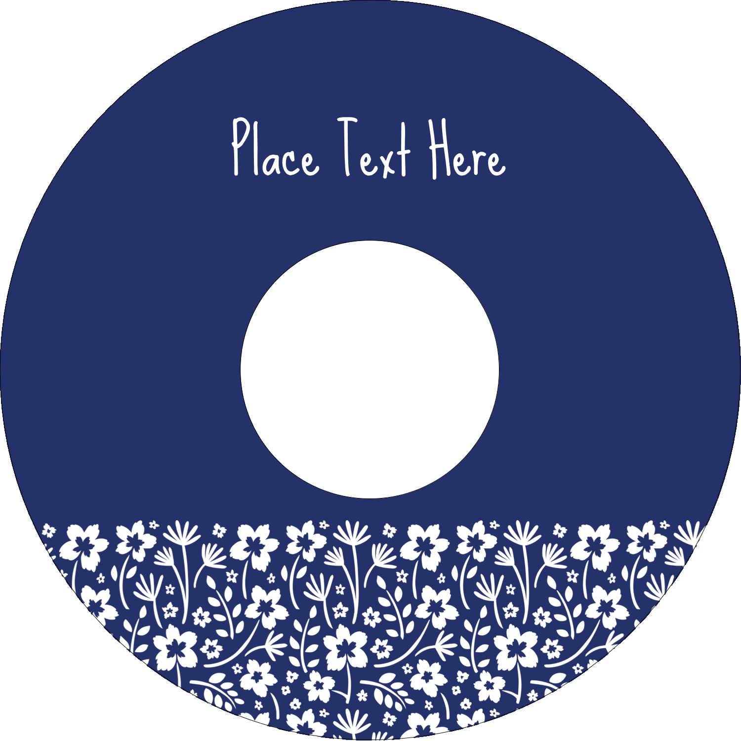 "4.65"" CD-DVD Label - Small Floral Blue"