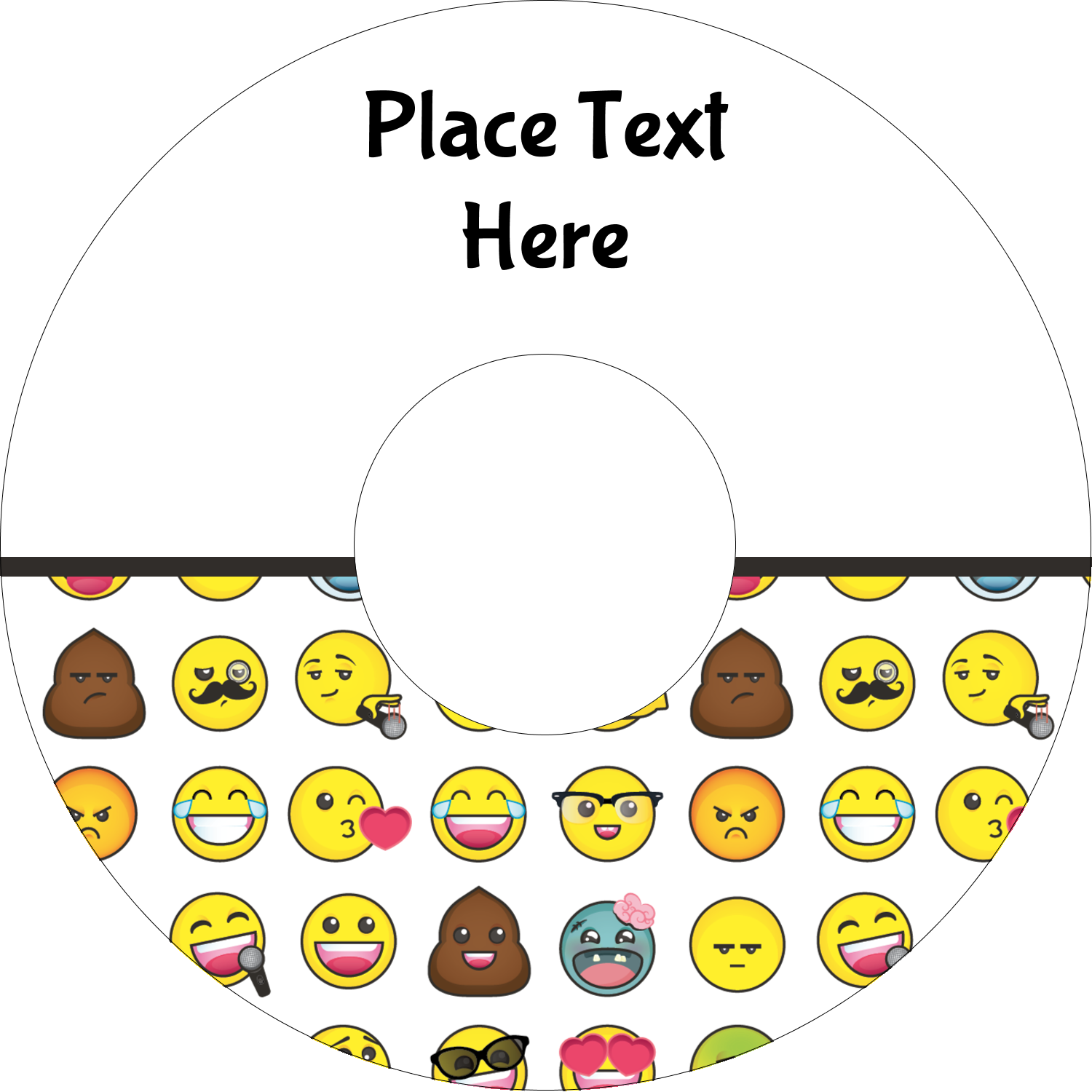 "4.65"" CD-DVD Label - Emoji Faces"