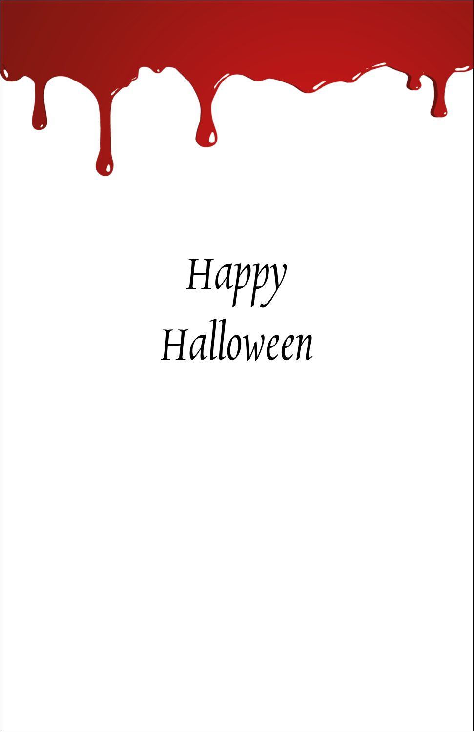 "5"" x 8½"" Half Fold Card - Bloody Halloween"