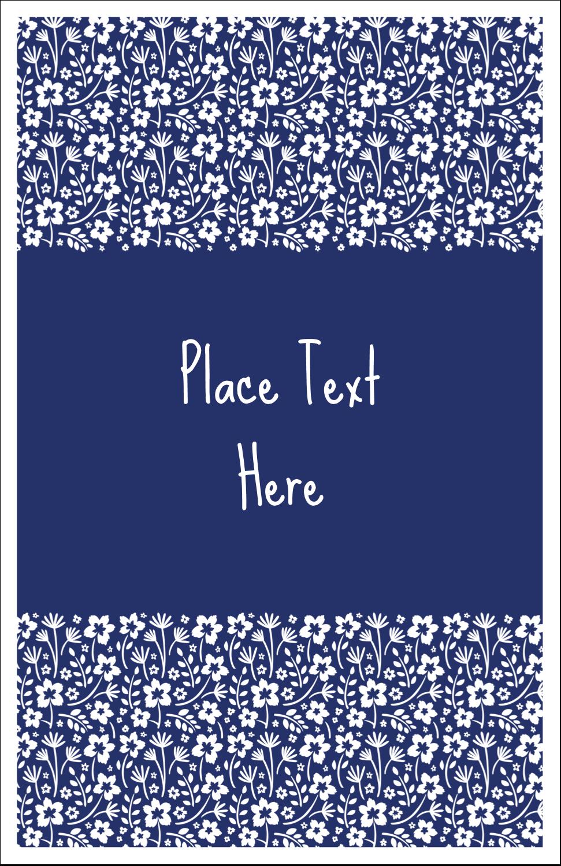 "5"" x 8½"" Half Fold Card - Small Floral Blue"