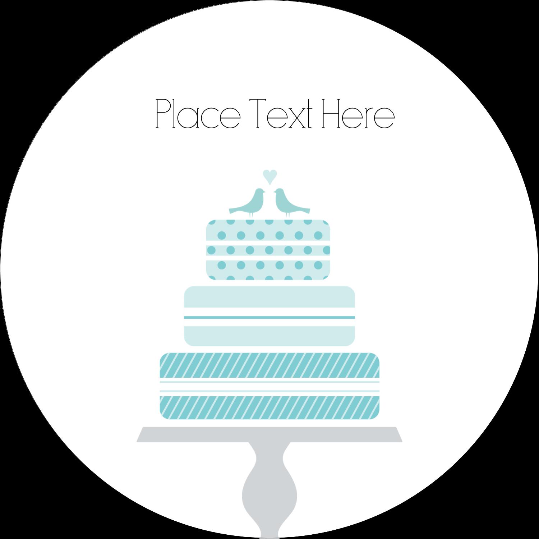 "1½"" Round Label - Blue Wedding Cake Bird Toppers"