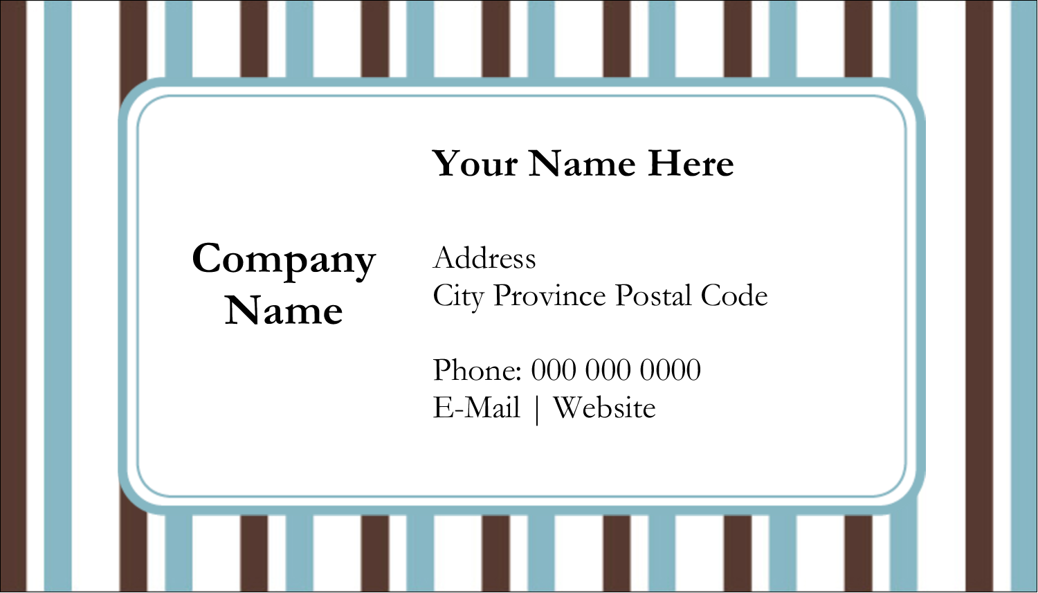 "2"" x 3½"" Business Card - Blue Stripes"
