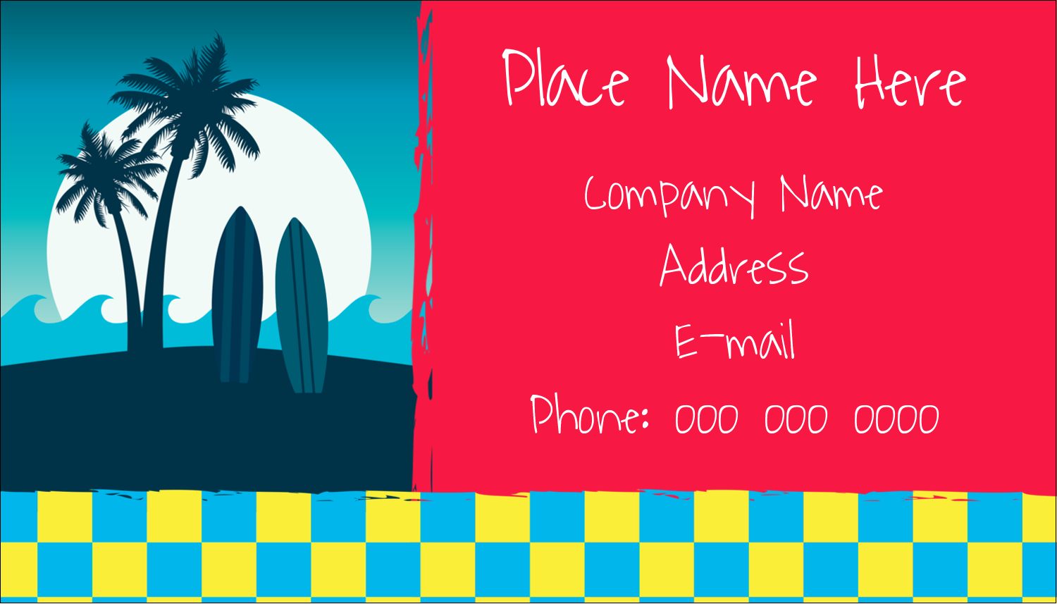 "2"" x 3½"" Business Card - Tropical Surf"