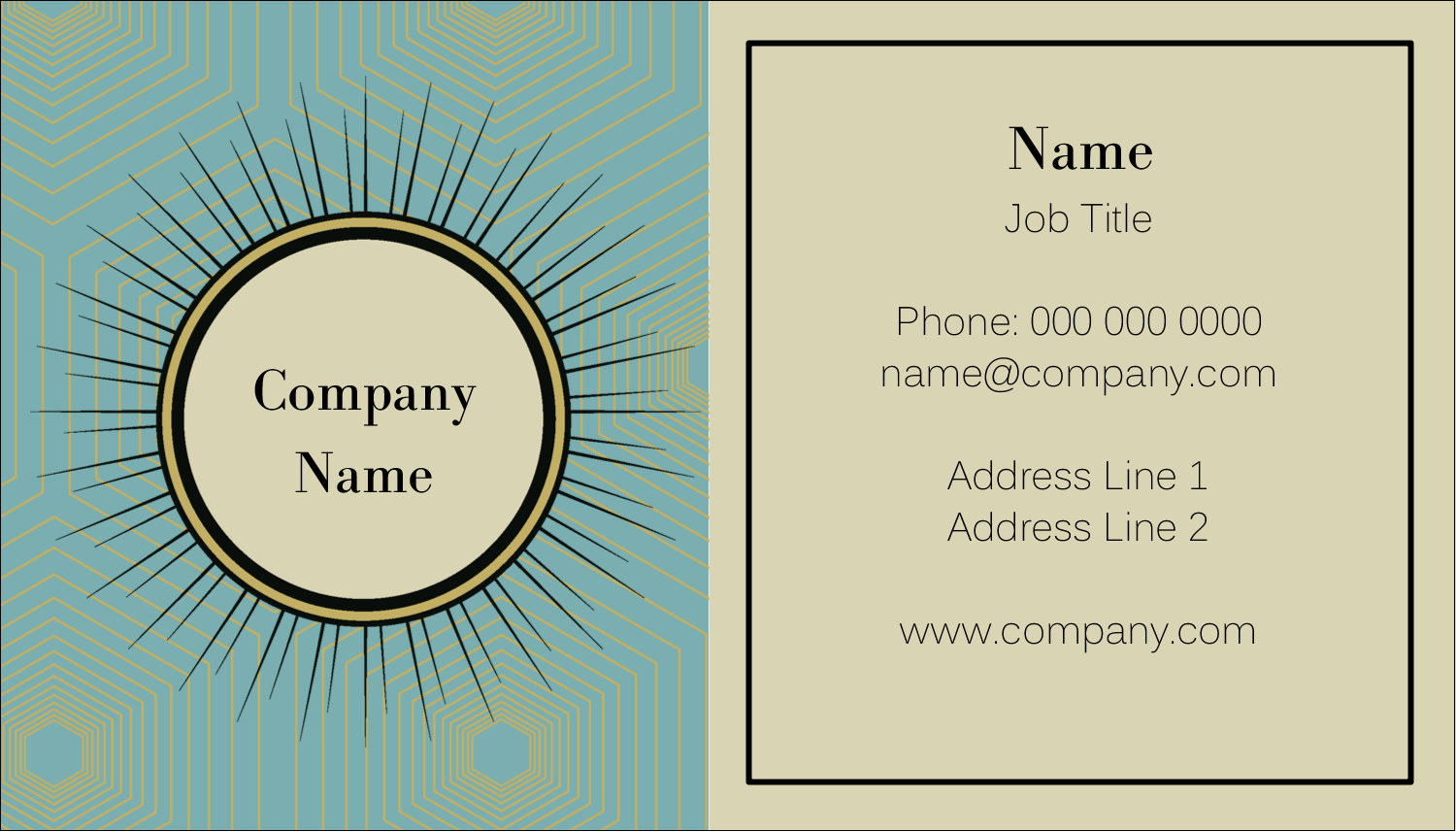 "2"" x 3½"" Business Card - Burst Tan"