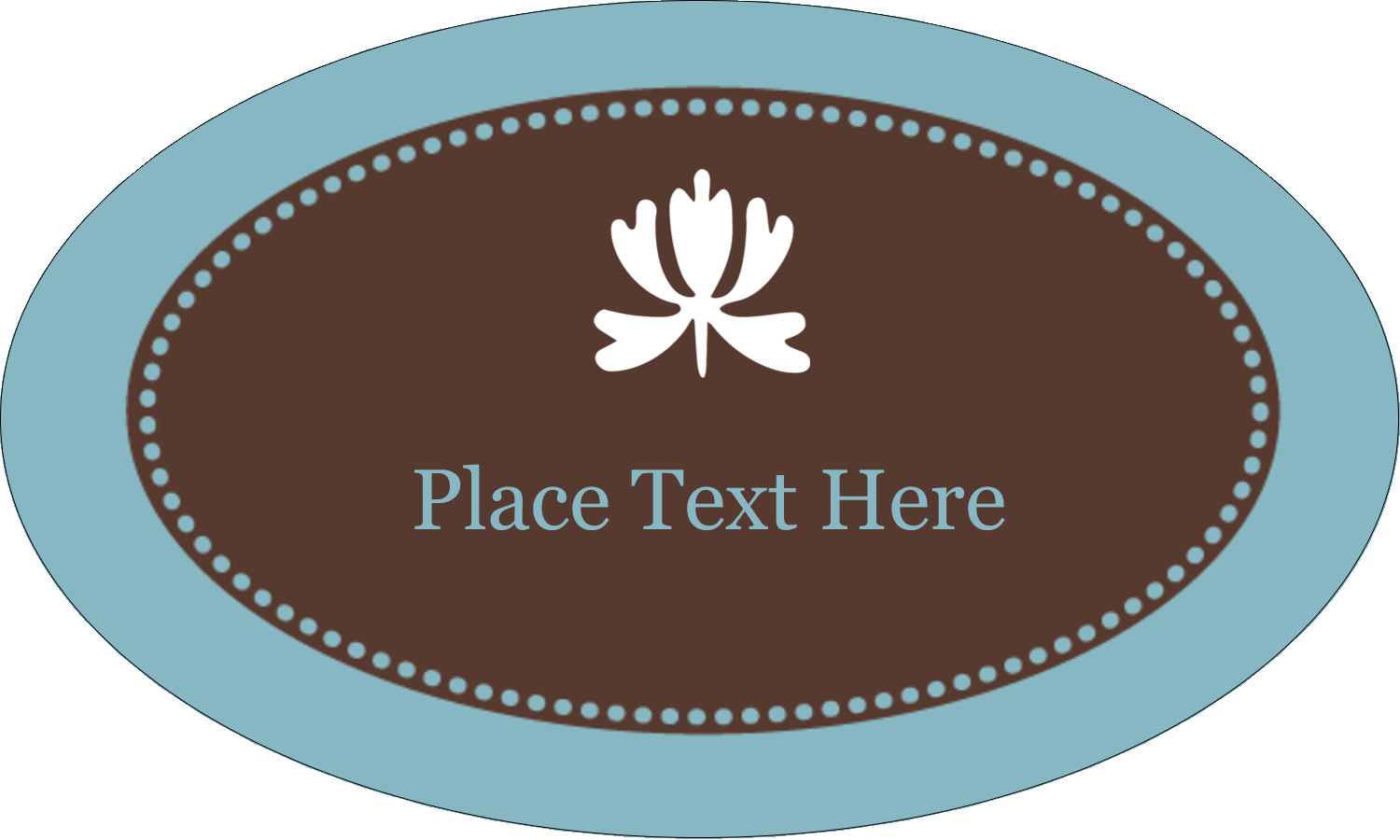 "1½"" x 2½"" Oval Glossy Label - Blue Brown Border"