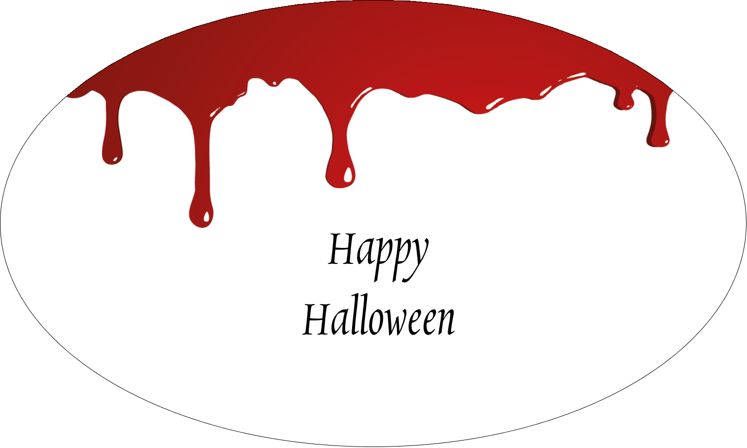 "1½"" x 2½"" Oval Glossy Label - Bloody Halloween"