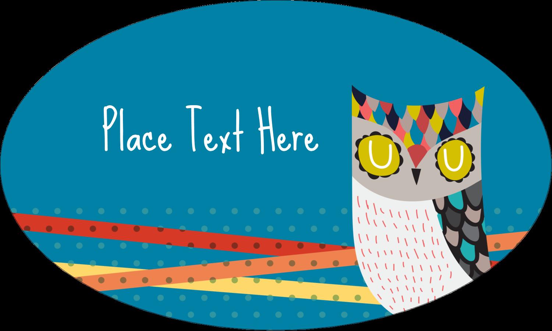 "1½"" x 2½"" Oval Glossy Label - Artful Owl"