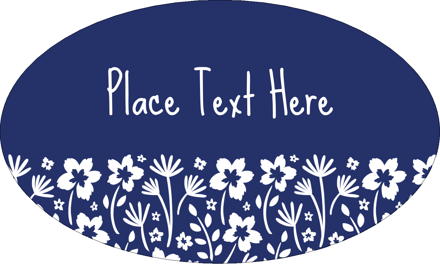 "1½"" x 2½"" Oval Glossy Label - Small Floral Blue"