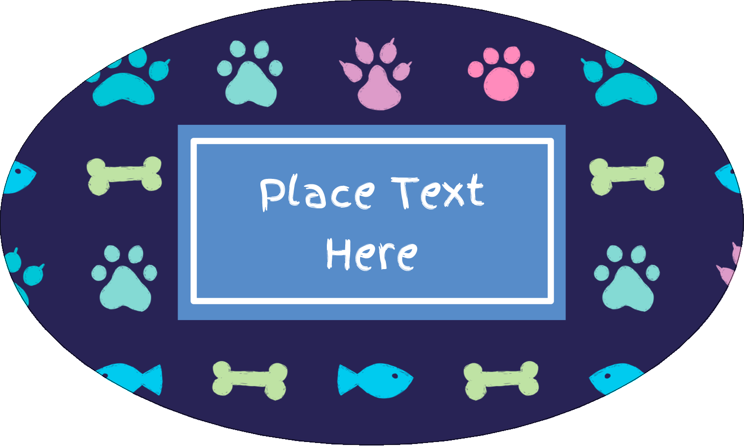 "1½"" x 2½"" Oval Glossy Label - Furry Friends"