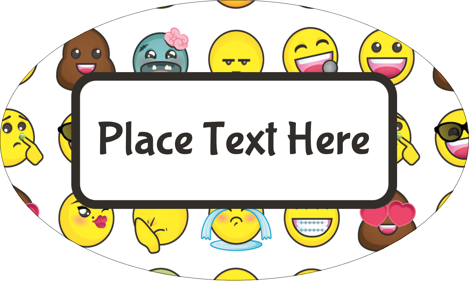 "1½"" x 2½"" Oval Glossy Label - Emoji Faces"